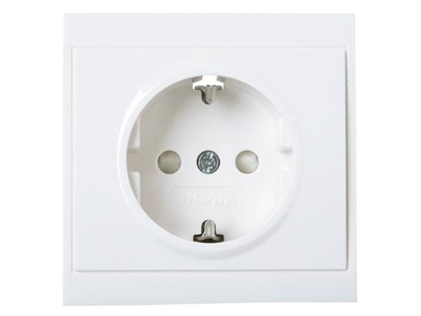 Schutzkontakt-Steckdose mit erhöhtem Berührungsschutz (Kinderschutz) arktis-weiß Serie Malta - Kopp