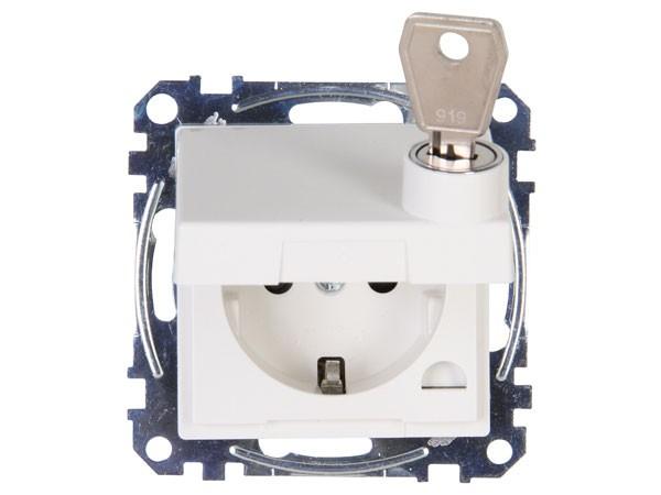 Schutzkontakt-Steckdose mit Klappdeckel abschließbar Objekt HK 07 rein-weiß Kopp (951529001)