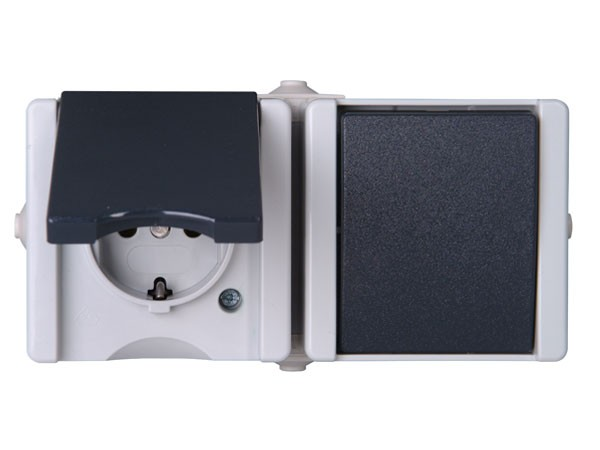 Aus-/Wechselschalter - Steckdosen - Kombination waagerecht IP44 AP-Feuchtraum Serie proAQA - Kopp