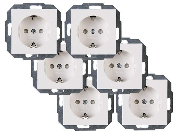 PROFI-PACK: 6x Schutzkontakt-Steckdose mit erhöhtem Berührungsschutz rein-weiß Serie Athenis - Kopp