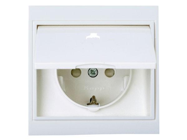 Schutzkontakt-Steckdose mit Deckel und erhöhtem Berührungsschutz arktis-weiß Serie Malta - Kopp