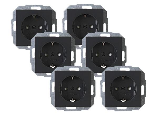 PROFI-PACK: 6 x Schutzkontakt-Steckdose mit erhöhtem Berührungsschutz Serie Athenis anthrazit Kopp