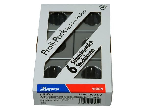 PROFI-PACK: 6x Schutzkontakt-Steckdose mit erhöhtem Berührungsschutz stahl Serie Vision - Kopp