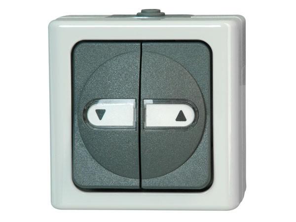 Aufputz-Feuchtraum - Jalousietaster mit Umkehrsperre, beleuchtet / Serie Blue Electric - Kopp
