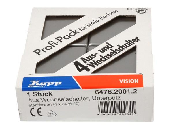 PROFI-PACK: 4x Universalschalter (Aus- und Wechselschalter) stahl Serie Vision - Kopp (647620012)