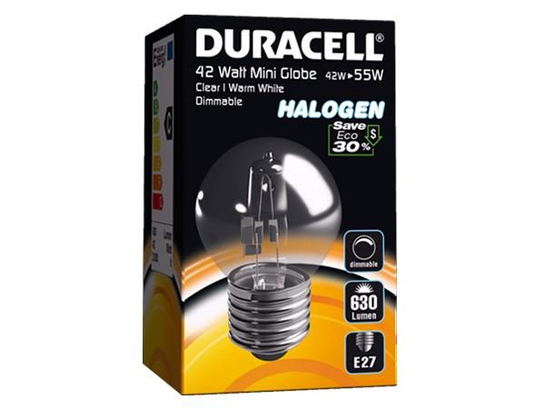 Duracell® HALOGEN EM7 (E27, 630 Lumen, 42 Watt, Mini Globe, warm weiß, dimmbar)