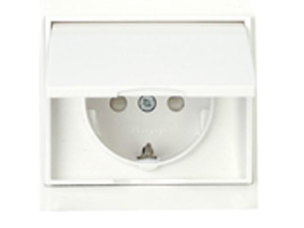 Schutzkontakt-Steckdose mit Deckel und erhöhtem Berührungsschutz weiß Serie Malta - Kopp (911501087)
