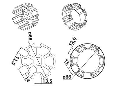 Vestamatic Vestaline Adapter für Motorserie VL-45 70mm Nut-Welle (40000100)
