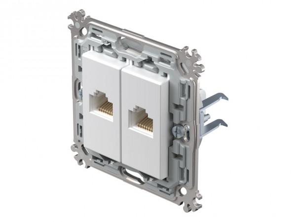 TEM Serie Modul Plus Netzwerkdose CAT. 5e zweifach polar weiß (CK37PWXO-D)