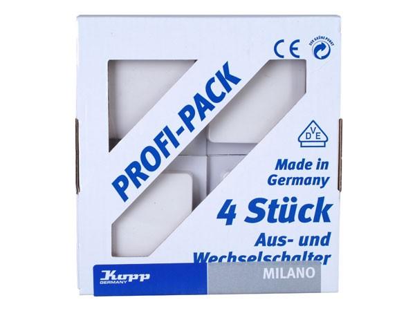 PROFI-PACK: 4 Universalschalter (Aus- und Wechselschalter) weiß / Serie Milano - Kopp (616613054)