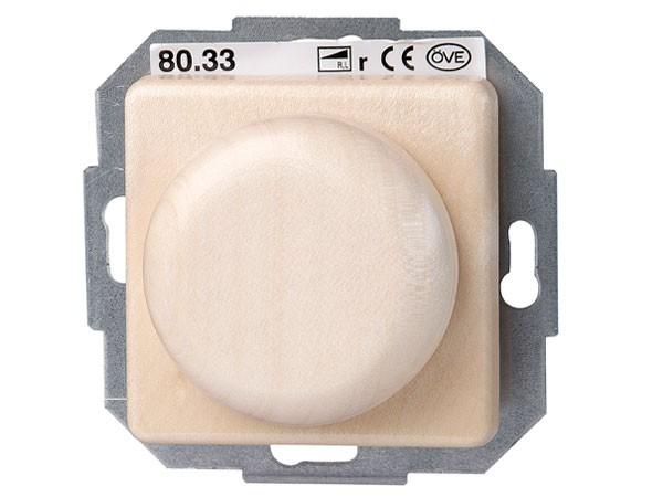 Elektronischer Dimmer mit Wippen-Wechselschalter (Phasenabschnitt) Serie Milano Echtholz-Ahorn - Kop