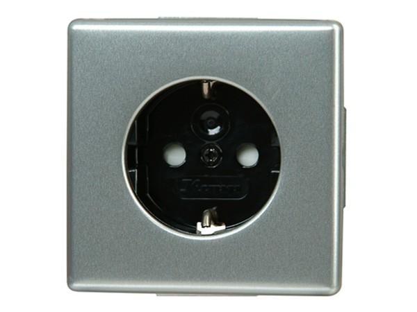 Schutzkontakt-Steckdose mit erhöhtem Berührungsschutz (Kinderschutzabdeckung) stahl Serie Vision - K