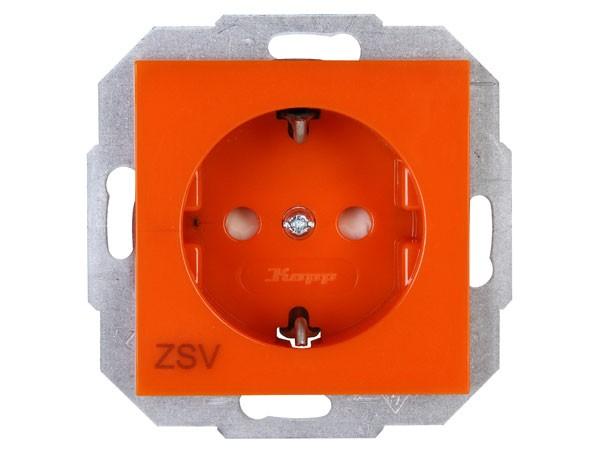 Schutzkontakt-Steckdose mit erhöhtem Berührungsschutz (Kinderschutz) Objekt HK 07 orange Kopp