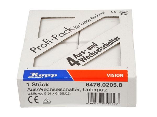 Profi-Pack: 4 Universalschalter (Aus- und Wechselschalter) Serie Vision arktis-weiß Kopp (647602058)