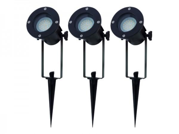RITOS LEDs Garden Gartenspot mit Erdspieß Set, 3 Stück schwarz (0087411512)