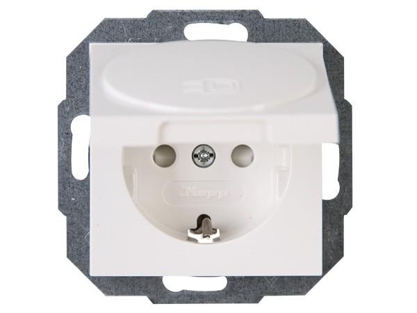 Schutzkontakt-Steckdose mit Deckel und erhöhtem Berührungsschutz rein-weiß Serie Athenis - Kopp