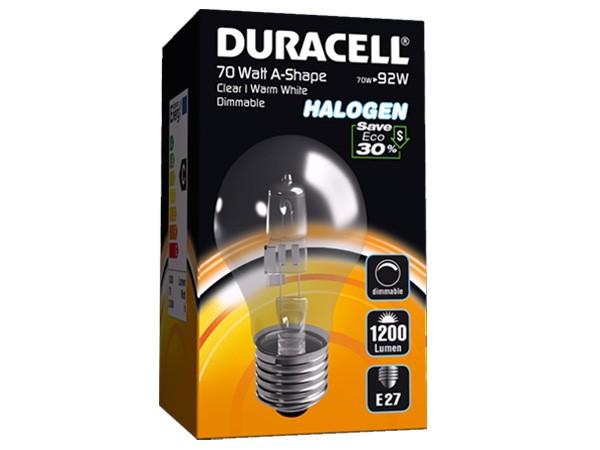 Duracell® HALOGEN EA5 (E27, 1200 Lumen, 70 Watt, A-Shape, warm weiß, dimmbar)