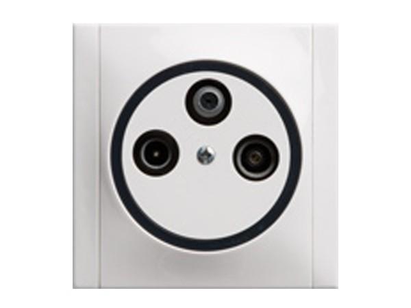 Antennen-Steckdose SAT/TV/RF mit 3 Ausgängen weiß/grau Serie Ascoli - REV-Ritter (00922204)