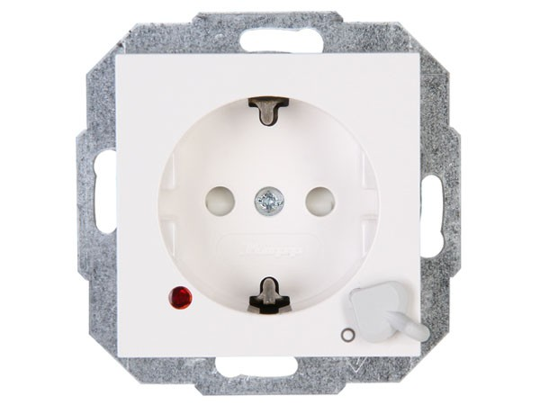 Schutzkontakt-Steckdose mit Ausschalter und optischer Funktionsanzeige Objekt HK 07 rein-weiß Kopp