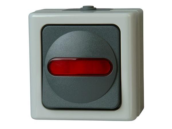 Aufputz-Feuchtraum - Kontrollschalter (Aus- und Wechselschalter), beleuchtet / Serie Blue Electric