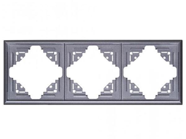 Abdeckrahmen 3-fach silber-anthrazit Serie Malta - Kopp (309315061)