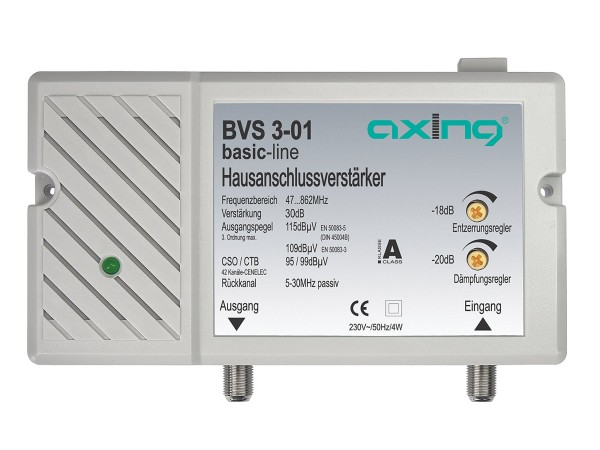 Axing Hausanschlussverstärker 30 dB | 98 dBμV mit Rückkanal 5…30 MHz (BVS 3-01)