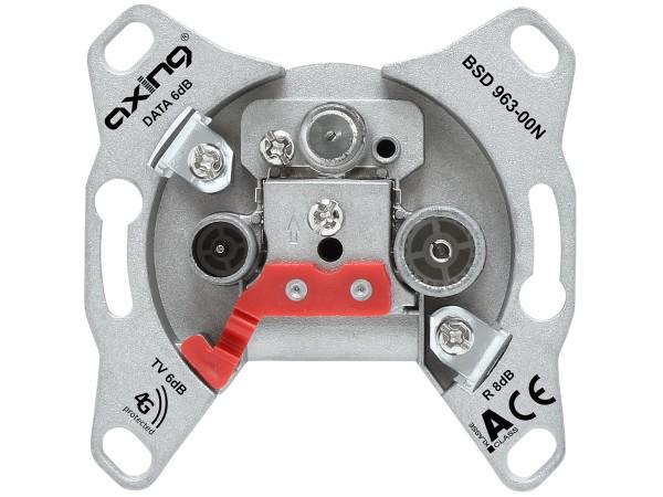 Axing Multimedia Antennensteckdose CATV DATA premium line Durchgangsdose 14 dB (BSD 963-14N)