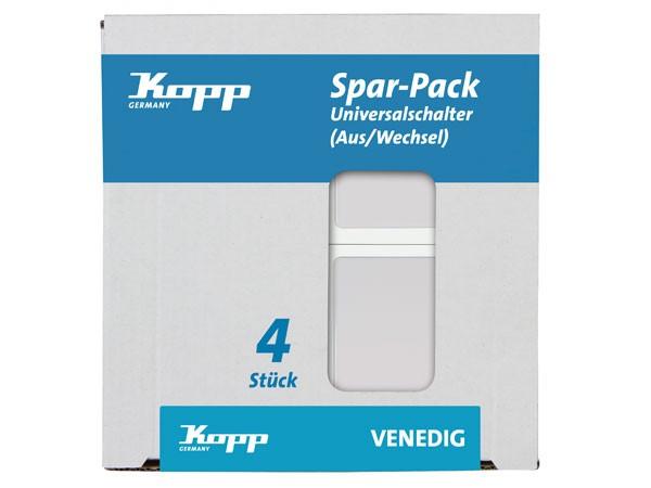 PROFI-PACK: 4x Universalschalter (Aus- und Wechselschalter) rein-weiß Serie Venedig - Kopp