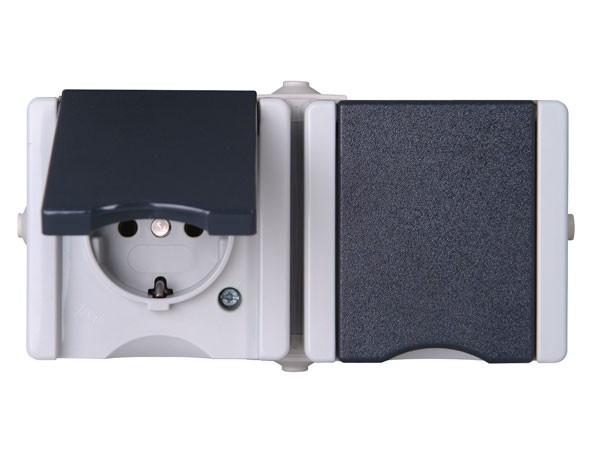 Schutzkontakt-Steckdose 2-fach mit Deckel waagerecht IP44 AP-Feuchtraum Serie proAQA - Kopp grau