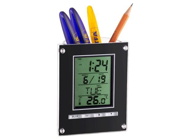 TFA 98.1075.01 Elektronischer Wecker mit Stiftehalter (schwarz)