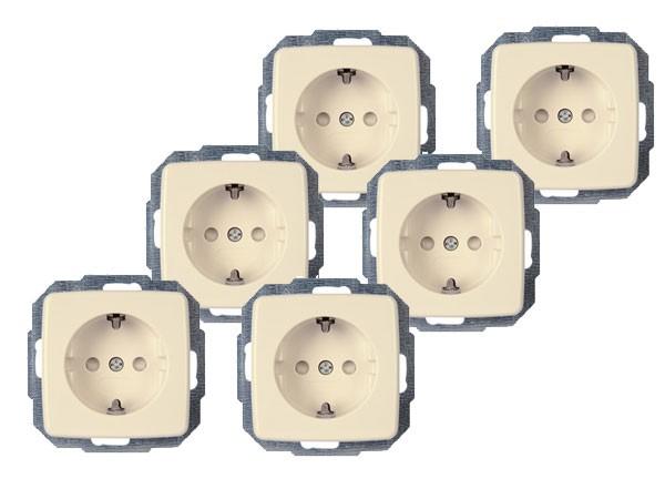 PROFI-PACK: 6x Schutzkontakt-Steckdose mit erhöhtem Berührungsschutz Serie Rivo creme-weiß Kopp