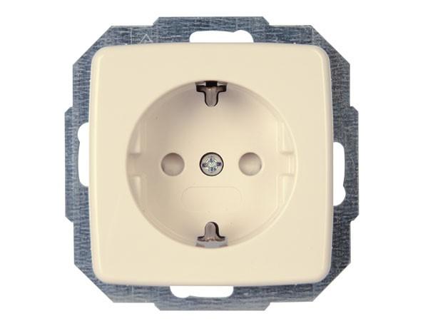 Schutzkontakt-Steckdose mit erhöhtem Berührungsschutz Serie Rivo creme-weiß Kopp (920201084)