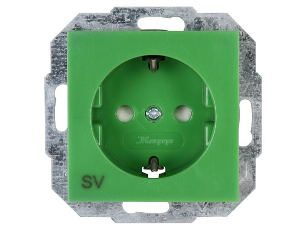 Schutzkontakt-Steckdose mit erhöhtem Berührungsschutz (Kinderschutz) Objekt HK 07 grün Kopp