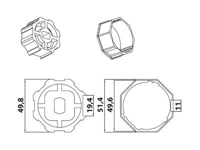Vestamatic Vestaline Adapter für Motorserie VL-45 50mm Achtkant-Welle (40000020)