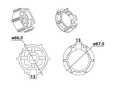 Vestamatic Vestaline Adapter für Motorserie VL-45 70mm Profil-Welle (40000060)