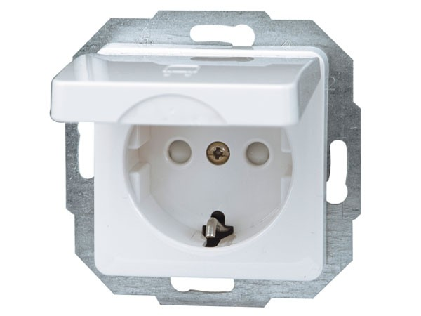 Schutzkontakt-Steckdose mit Deckel und erhöhtem Berührungsschutz weiß / Serie Milano - Kopp