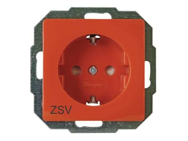Schutzkontakt-Steckdose mit erhöhtem Berührungsschutz und Aufdruck ZSV Serie Paris / Objekt HK 05 -
