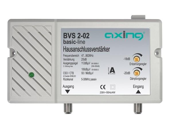 Axing Hausanschlussverstärker 25 dB | 98 dBμV   mit Rückkanal 5…30 MHz, passiv (BVS 2-02)