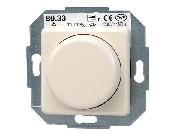 Elektronischer Dimmer mit Wippen-Wechselschalter (Phasenabschnitt) Serie Europa creme-weiß Kopp