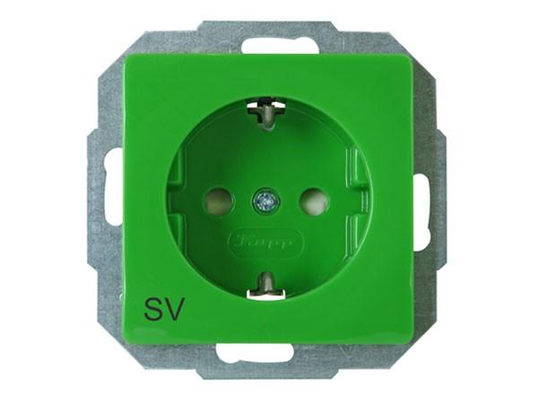 Schutzkontakt-Steckdose mit erhöhtem Berührungsschutz und Aufdruck SV Serie Paris / Objekt HK 05 - K