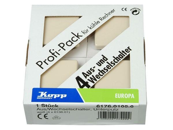 Profi-Pack: 4 x Universalschalter (Aus- und Wechselschalter) Serie Europa creme-weiß Kopp