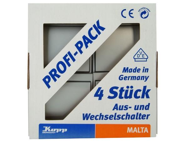PROFI-PACK: 4x Universalschalter (Aus- und Wechselschalter) silber Serie Malta - Kopp (622620052)