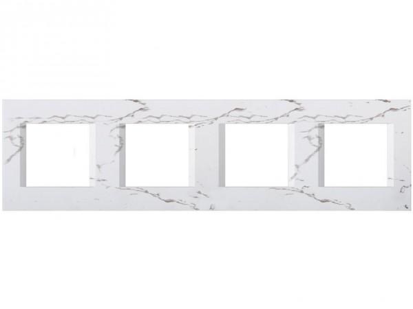 TEM Serie Modul Plus LINE Abdeckrahmen 4x2M steinweiß (OL28SW-U)
