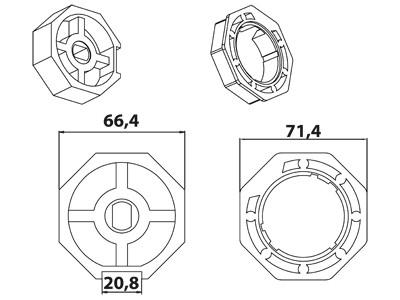 Vestamatic Vestaline Adapter für Motorserie VL-45 70mm Achtkant-Welle (40000040)